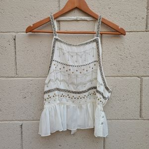 Free People   Camille Embellished Peplum Cami NEW